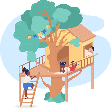 Kids playing on treehouse Illustration