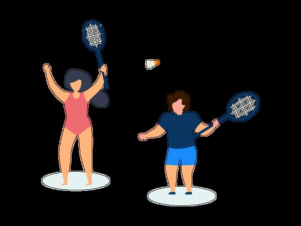 Kids playing tennis Illustration
