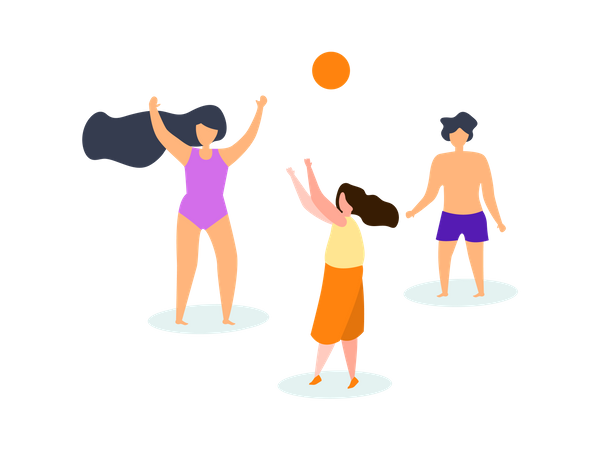 Kids playing volleyball at Beach Illustration