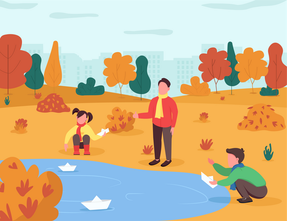 Kids playing with paper boat in lake Illustration