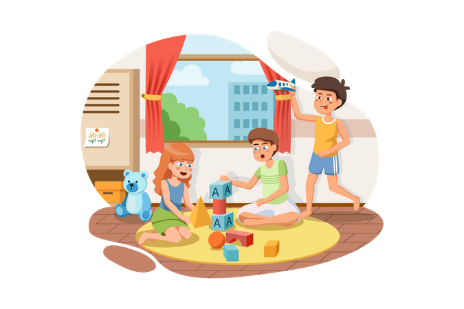 Kids playing with toys in preschool Illustration