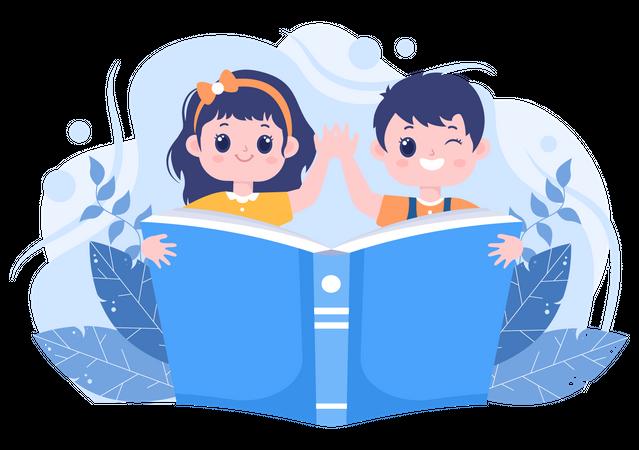 Kids reading book Illustration