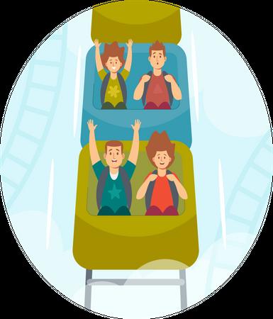 Kids Riding Roller Coaster in Amusement Park Illustration