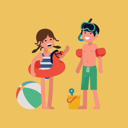Kids wearing safety kit Illustration