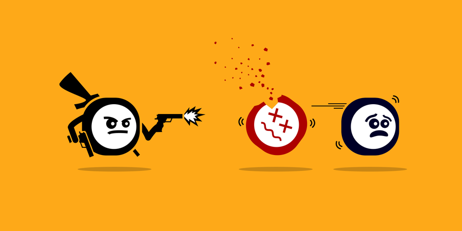 Killer app killing other mobile apps by shooting them with gun Illustration