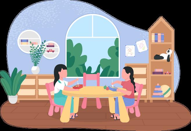 Kindergarten dinner break Illustration