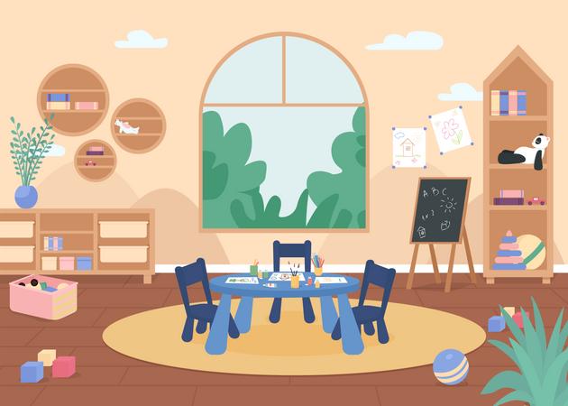 Kindergarten painting class Illustration
