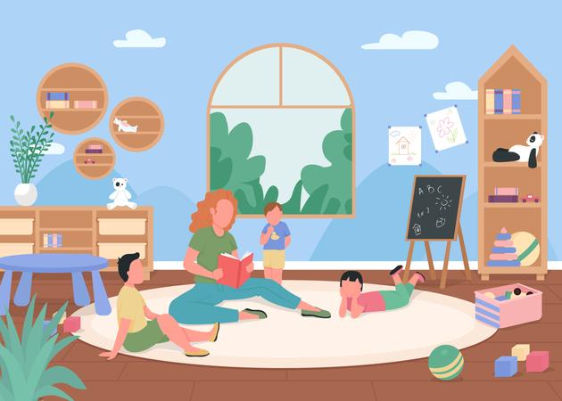 Kindergarten playroom Illustration