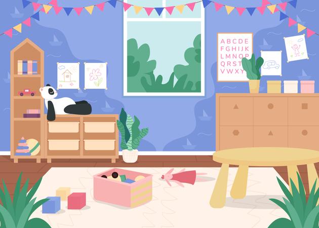 Kindergarten playroom for children Illustration