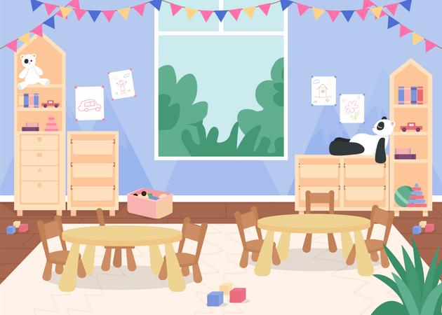 Kindergarten playroom with desks and chair for kids Illustration