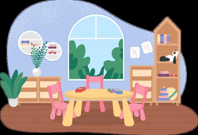 Kindergarten tables for mealtime Illustration