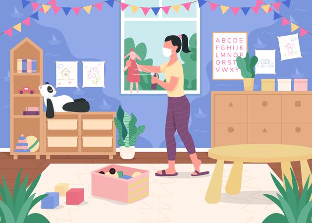 Kindergarten teacher sanitize toys Illustration