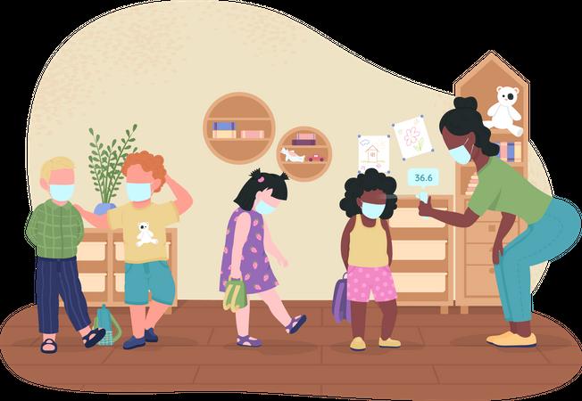 Kindergarten temperature check during covid Illustration