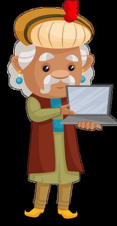 King Akbar showing laptop Illustration