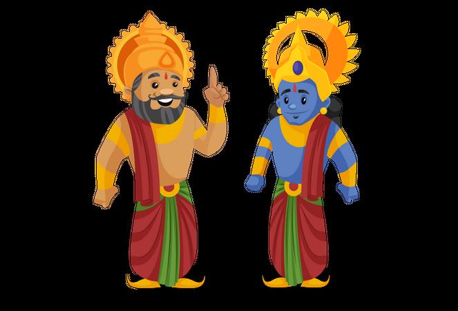 King Dasharatha standing with lord ram Illustration