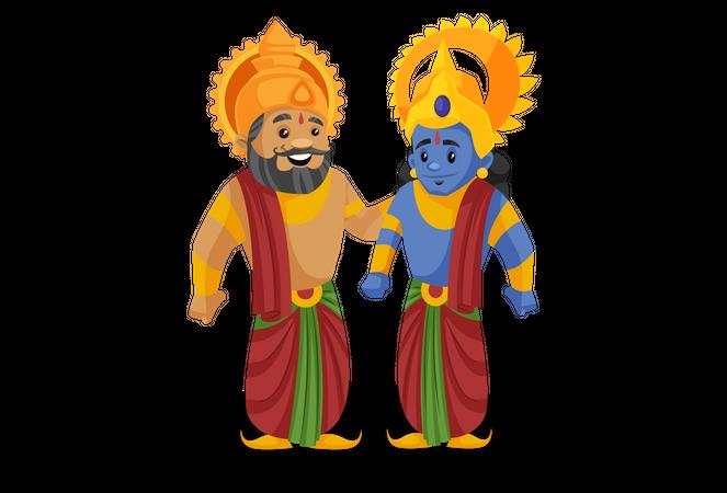 King Dasharatha standing with lord rama Illustration