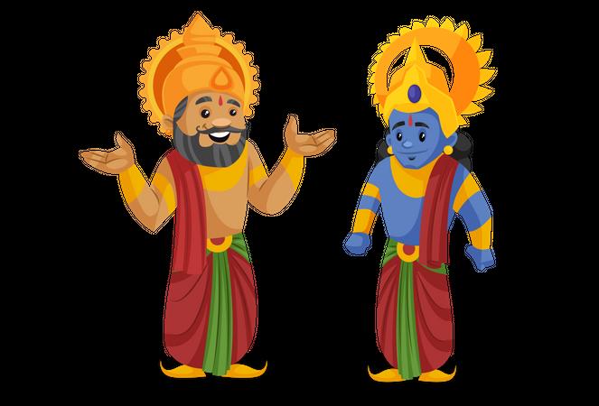 King Dasharatha talking with lord ram Illustration