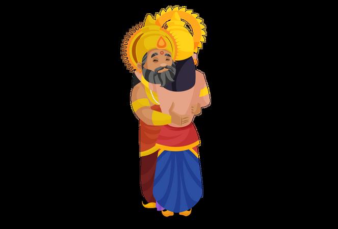 King Dhritarashtra hugging duryodhana Illustration