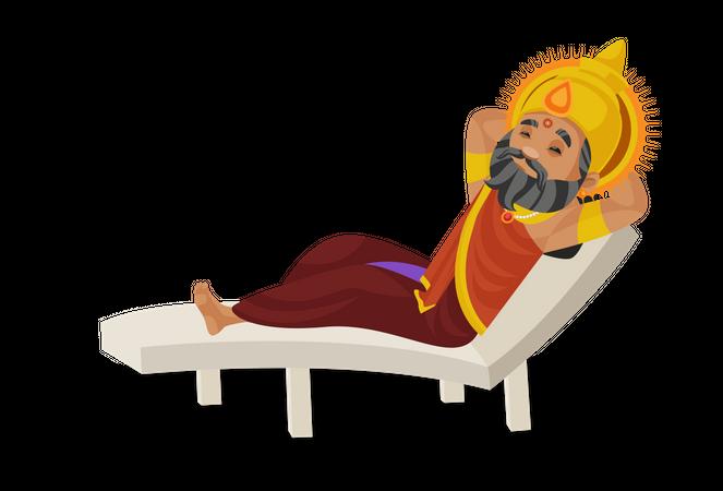 King Dhritarashtra lying on bench Illustration