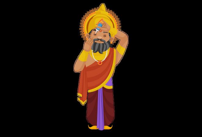 King Dhritarashtra putting eye drops in eyes Illustration