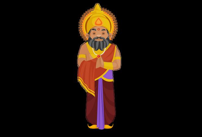 King Dhritarashtra standing with welcome pose Illustration