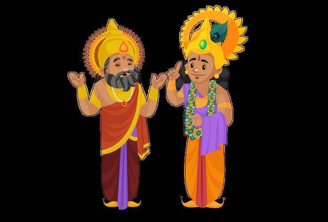 King Dhritarashtra talking with Lord krishna Illustration