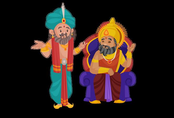 King Dhritarashtra talking with shakuni Illustration