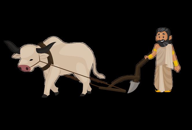 King janaka farming with bull Illustration