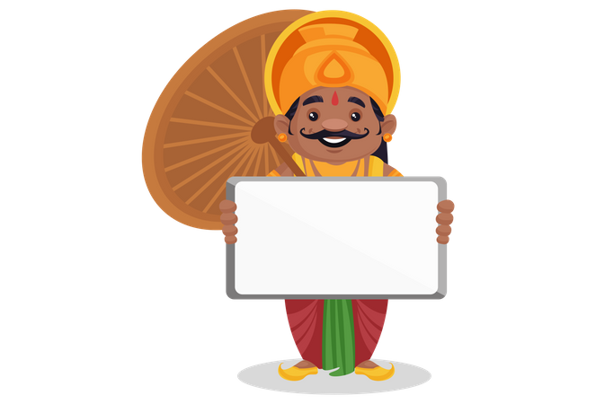 King Mahabali is holding an empty board in hand Illustration