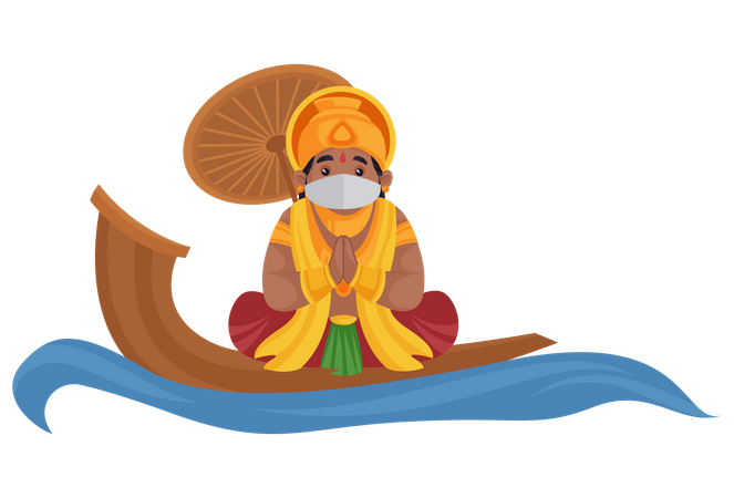 King Mahabali is wearing a mask and sitting on water boat doing Namaste Illustration