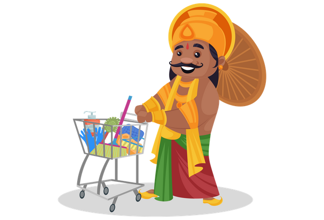 King Mahabali is with shopping cart and household material Illustration