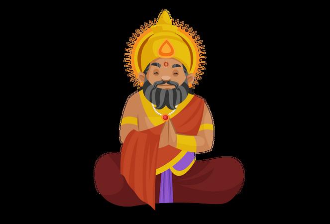 King praying to god Illustration