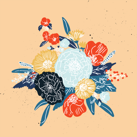 King protea hand drawn with outline graphic design vector Illustration