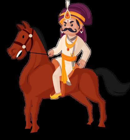 King riding horse Illustration