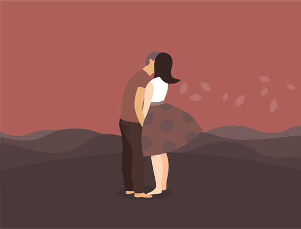 Kissing mature couple Illustration