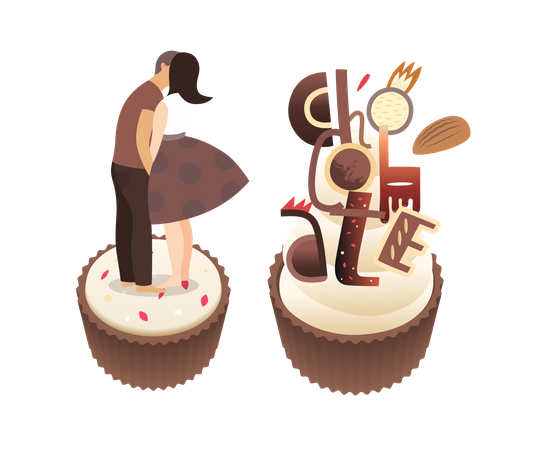 Kissing on chocolate cake Illustration