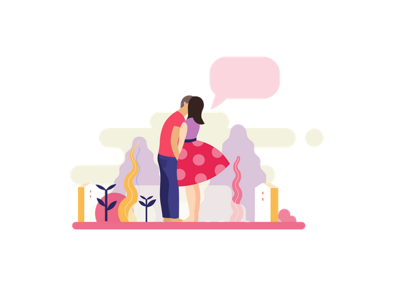 Kissing on date Illustration