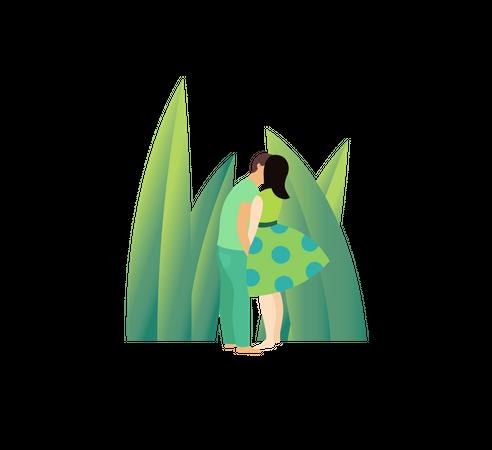 Kissing on forest Illustration
