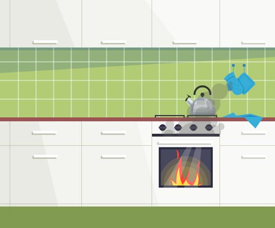 Kitchen on fire Illustration