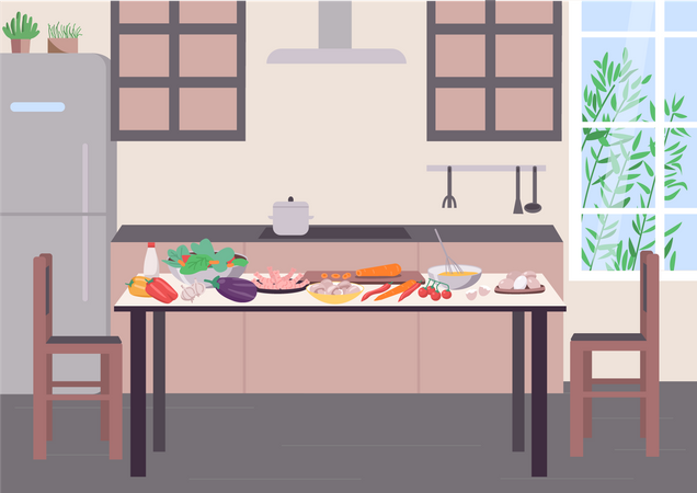 Kitchen table for cooking Illustration