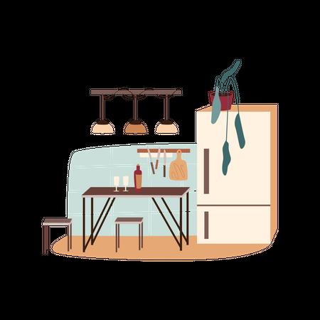 Kitchen with refrigerator Illustration