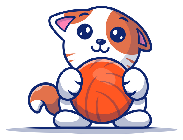 Kitten playing with ball Illustration