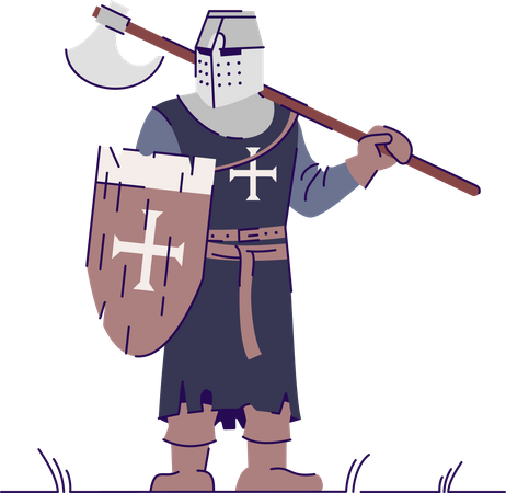 Knight in armor holding weapon Illustration