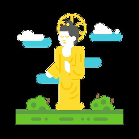 Korean buddha statue Illustration