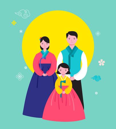 Korean Happy family Illustration