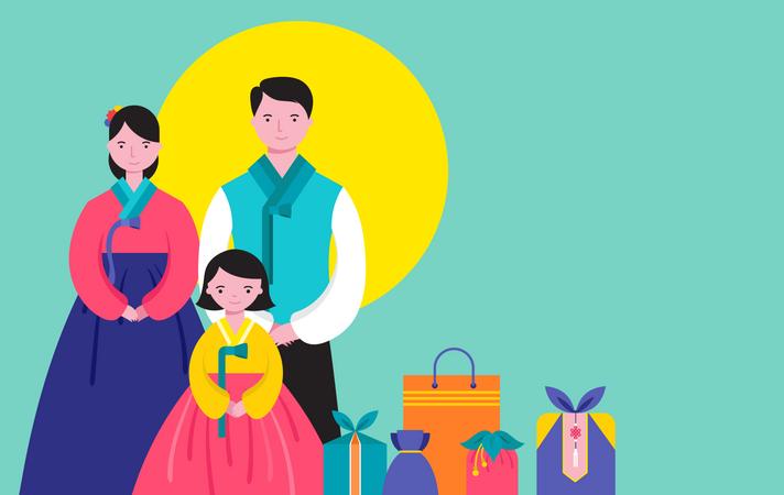 Korean Traditional Happy family Illustration
