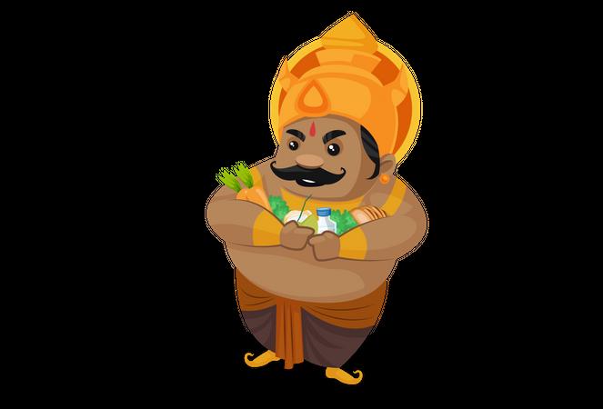 Kumbhkaran holding food in his arms Illustration