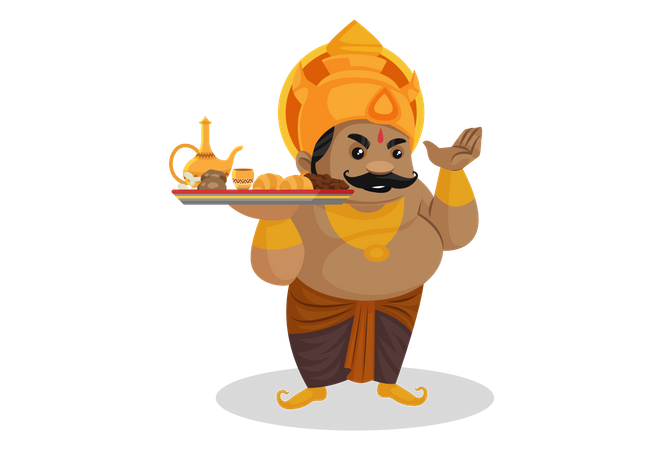 Kumbhkaran holding food plate Illustration
