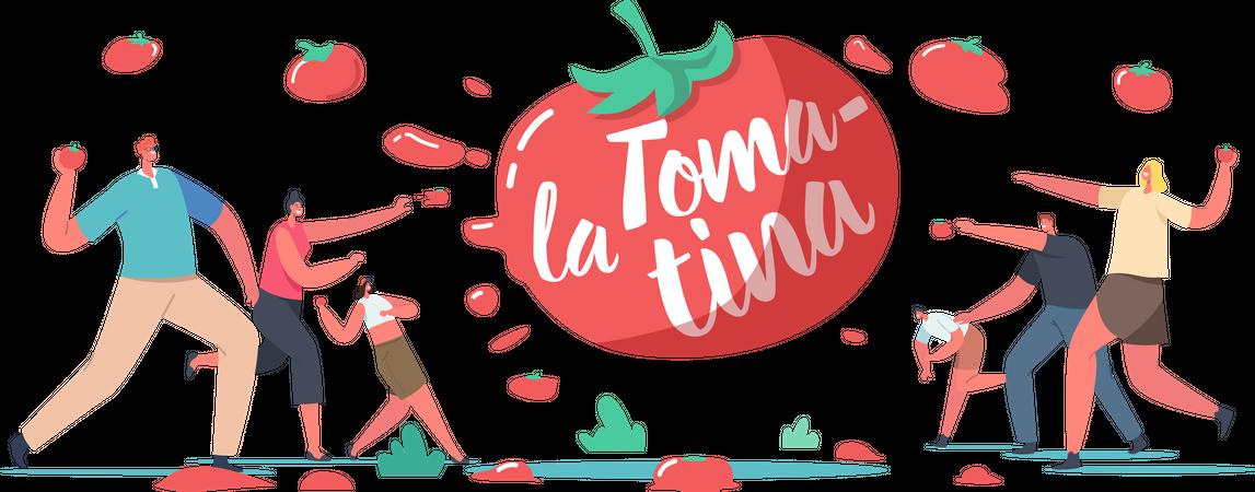 La Tomatina Festival Illustration
