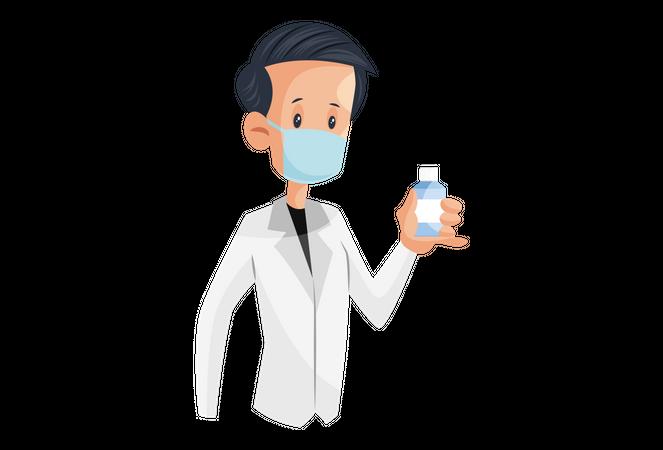 Laboratory boy holding medicine bottle in a hand Illustration